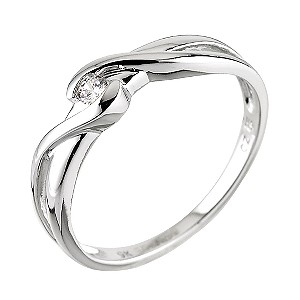 9ct White Gold Cubic Zirconia Wrapover Dress Ring