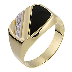 9ct Yellow Gold Diamond Onyx Signet Ring - Product number 6203000