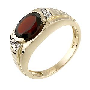 9ct Yellow Gold Diamond Red Garnet Signet Ring