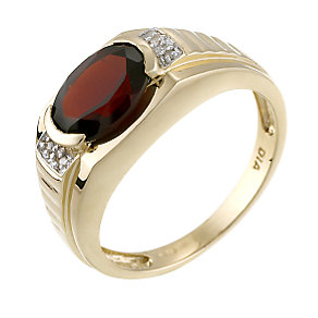 9ct Yellow Gold Diamond Red Garnet Signet Ring - Product number 6204074
