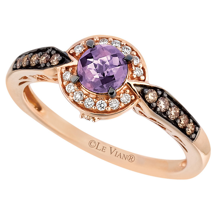 Le Vian 14ct Strawberry Gold Amethyst & Diamond Ring - Product number 6208495