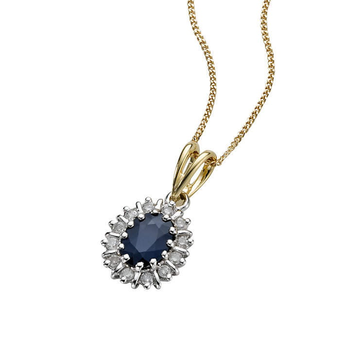 18ct gold sapphire diamond pendant - Product number 6209211