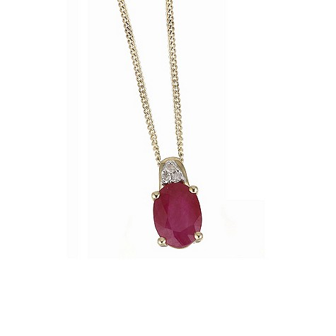 9ct yellow gold ruby necklace