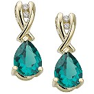 9ct gold created emerald and diamond drop earrings - Product number 6215033