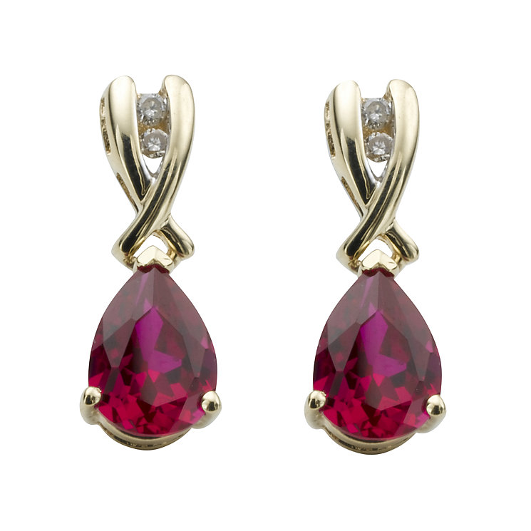 9ct gold created ruby and diamond drop earrings - Product number 6215068
