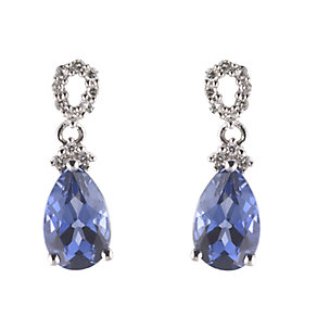 9ct white gold created sapphire earrings - Product number 6215092