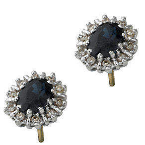 18ct gold sapphire and diamond cluster earrings - Product number 6215203