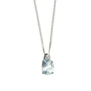 9ct white gold aquamarine and diamond pendant - Product number 6215475
