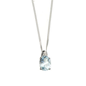 9ct white gold aquamarine and diamond pendant - Product number 6215475