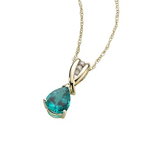 9ct gold created emerald and diamond pendant - Product number 6215491