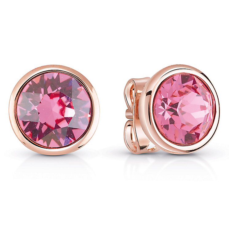 Guess Rose Gold Plated Rose Swarovski Crystal Stud Earrings - Product number 6220002