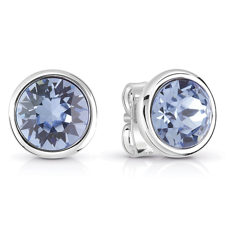 Guess Rhodium-Plated Light Sapphire Crystal Stud Earrings - Product number 6220010
