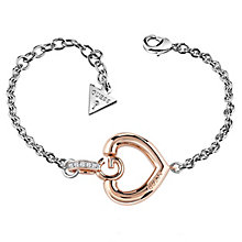 Guess Rhodium & Rose Gold Plated G Heart Bracelet - Product number 6220258
