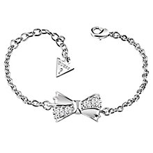 Guess Rhodium-Plated Crystal Set Bow Bracelet - Product number 6220266