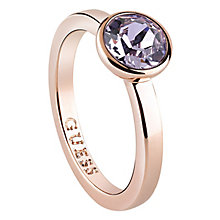 Guess Rose Gold Plated Lavandar Swarovski Crystal Ring - Product number 6220673