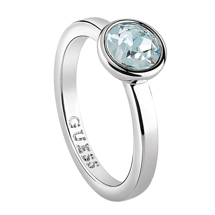 Guess Rhodium plated Light Azure Swarovski Crystal Ring - Product number 6220681