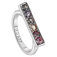 Guess Rhodium Plated Swarovski® Crystal Rainbow Bar Ring - Product number 6220703