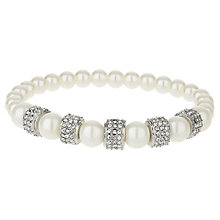 Mikey Silver Tone Imitation Pearl & Crystal Bracelet - Product number 6221009