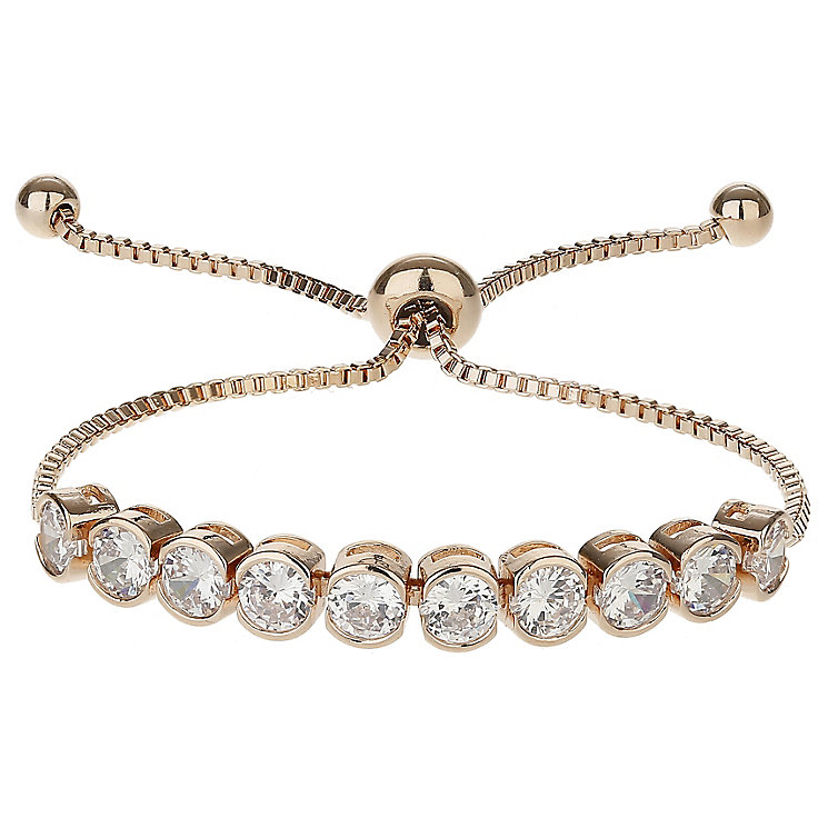 Mikey Rose Gold Tone Cubic Zirconia Adjustable Bracelet - Product number 6221122