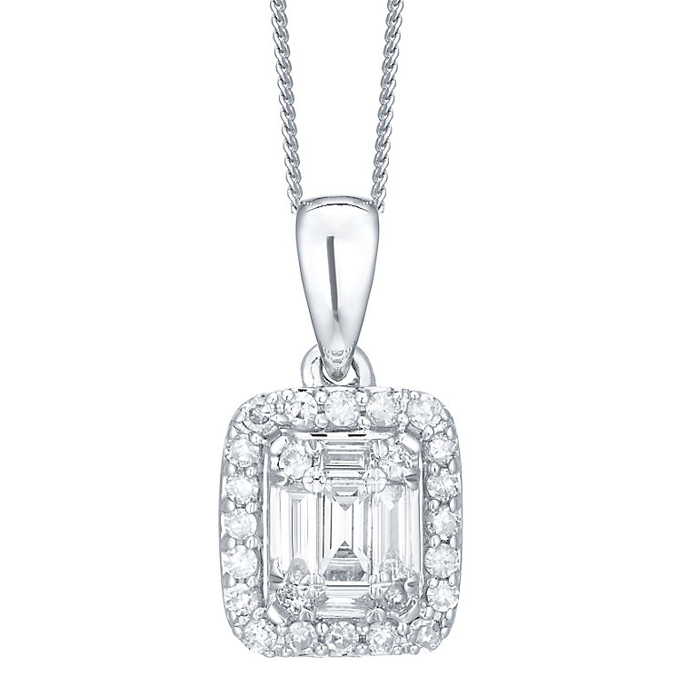 9ct White Gold Baguette Cut Diamond Set Pendant - Product number 6224075