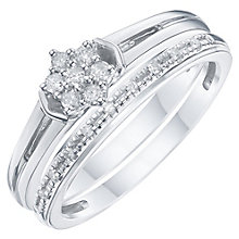 Perfect Fit Argentium Silver Diamond Bridal Ring Set - Product number 6227058