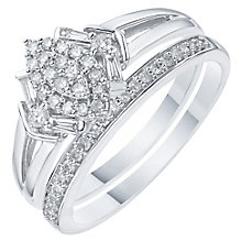 Perfect Fit 9ct White Gold 1/3 Carat Diamond Bridal Ring Set - Product number 6227570