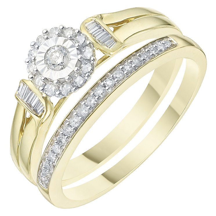 Perfect Fit 9ct Yellow Gold 1/4 Carat Diamond Bridal Set - Product number 6227708