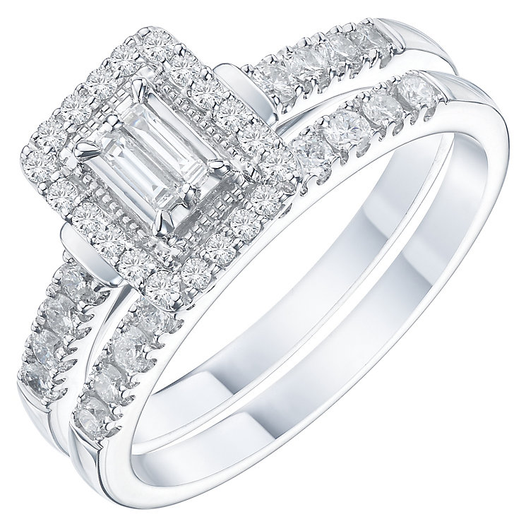 Perfect Fit Platinum 1/2 Carat Baguette Diamond Bridal Set - Product number 6228240