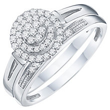 Perfect Fit Argentium Silver Diamond Bridal Ring Set - Product number 6228666