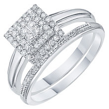 Perfect Fit 9ct White Gold 1/4 Carat Diamond Halo Bridal Set - Product number 6228798