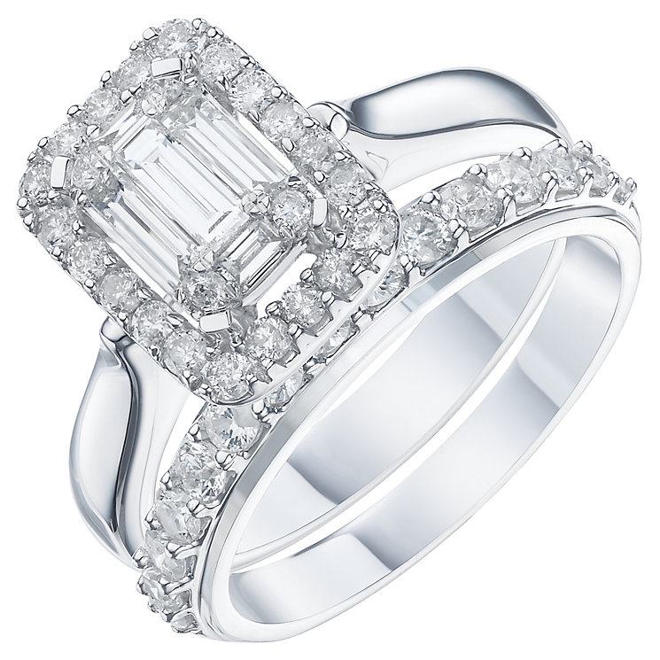 Perfect Fit 9ct White Gold 1 Carat Diamond Bridal Ring Set - Product number 6229360