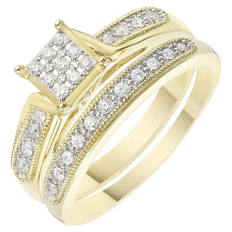 Perfect Fit 9ct Yellow Gold 1/5 Carat Diamond Bridal Set - Product number 6229751