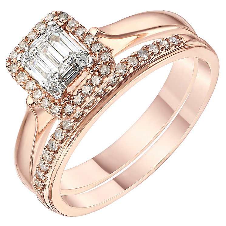 Perfect Fit 9ct Rose Gold 1/3 Carat Diamond Bridal Ring Set - Product number 6229883
