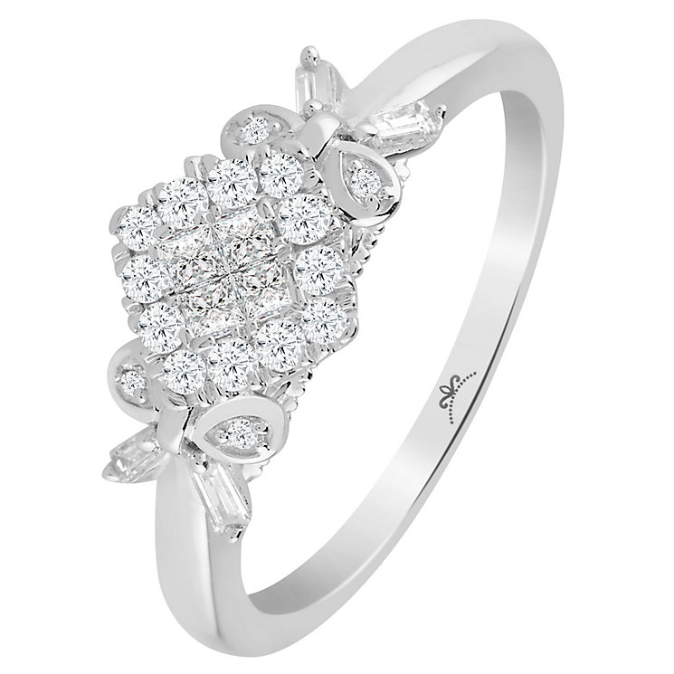 Princessa 9ct White Gold 1/3 Carat Diamond Cluster Ring - Product number 6230628