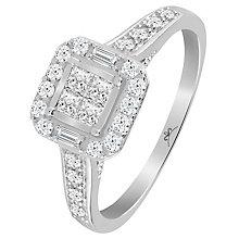 9ct White Gold 1/2 Carat Diamond Princessa Ring - Product number 6230636