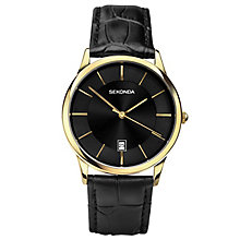 Sekonda Men's Gold Plated Black Leather Strap Watch - Product number 6231462