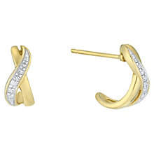 9ct Yellow Gold Crossover Diamond Earrings - Product number 6232140