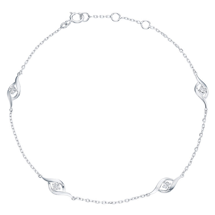9ct White Gold Diamond Chain Bracelet - Product number 6232221