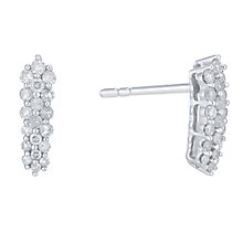 9ct White Gold 1/4 Carat Diamond Cluster Drop Earrings - Product number 6232787