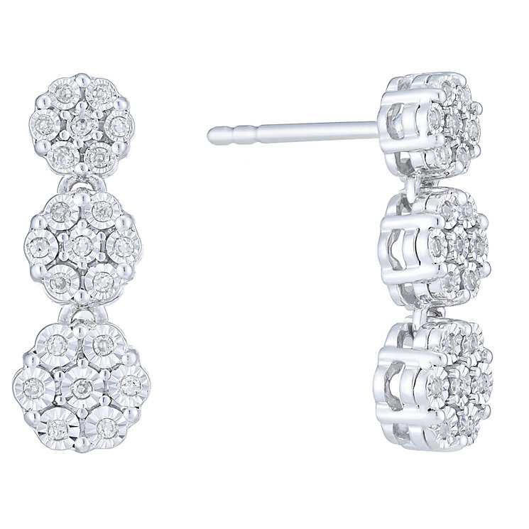 Sterling Silver 0.14ct Diamond Cluster Drop Earrings - Product number 6232809