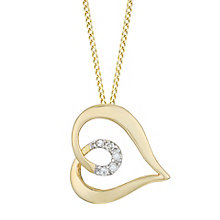 9ct Yellow Gold Diamond Heart Pendant - Product number 6232817