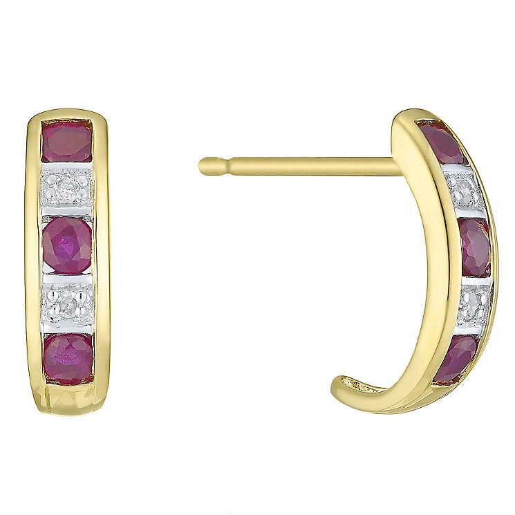 9ct Yellow Gold Ruby & Diamond Earring - Product number 6232906