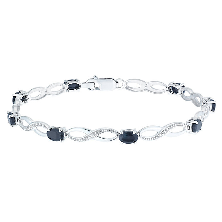 Sterling Silver Sapphire & Diamond Bracelet - Product number 6232981