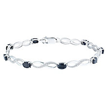 Sterling Silver Sapphire & Diamond Bracelet