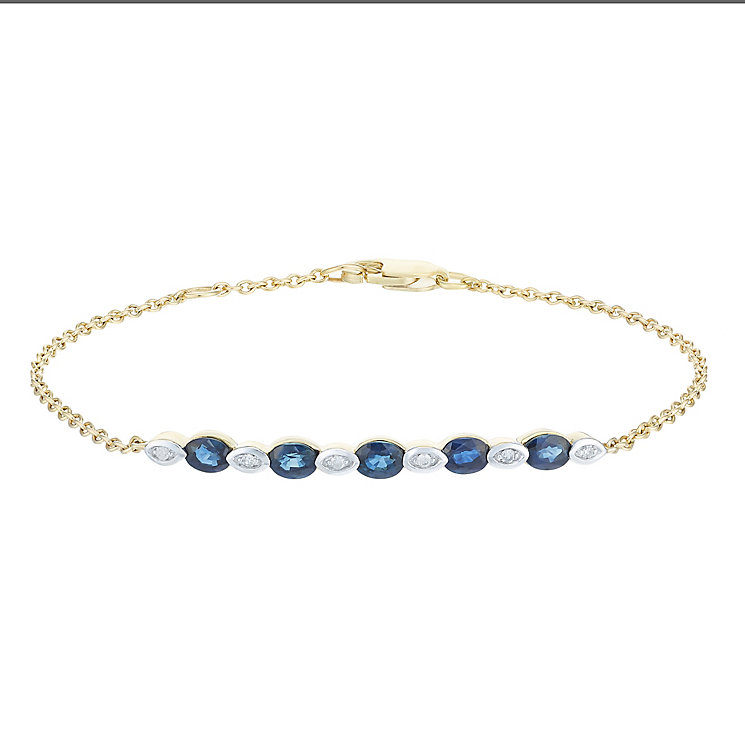 9ct Yellow Gold Sapphire & Diamond Bracelet - Product number 6233015