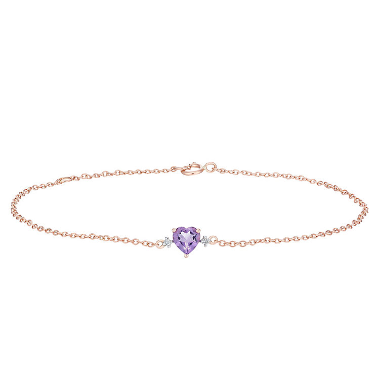 9ct Rose Gold Amethyst & Diamond Chain Bracelet - Product number 6233058