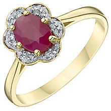 18ct Yellow Gold Ruby & Diamond Solitaire Ring - Product number 6233724