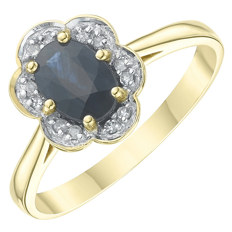 18ct Yellow Gold Sapphire & Diamond Solitaire Ring - Product number 6233856