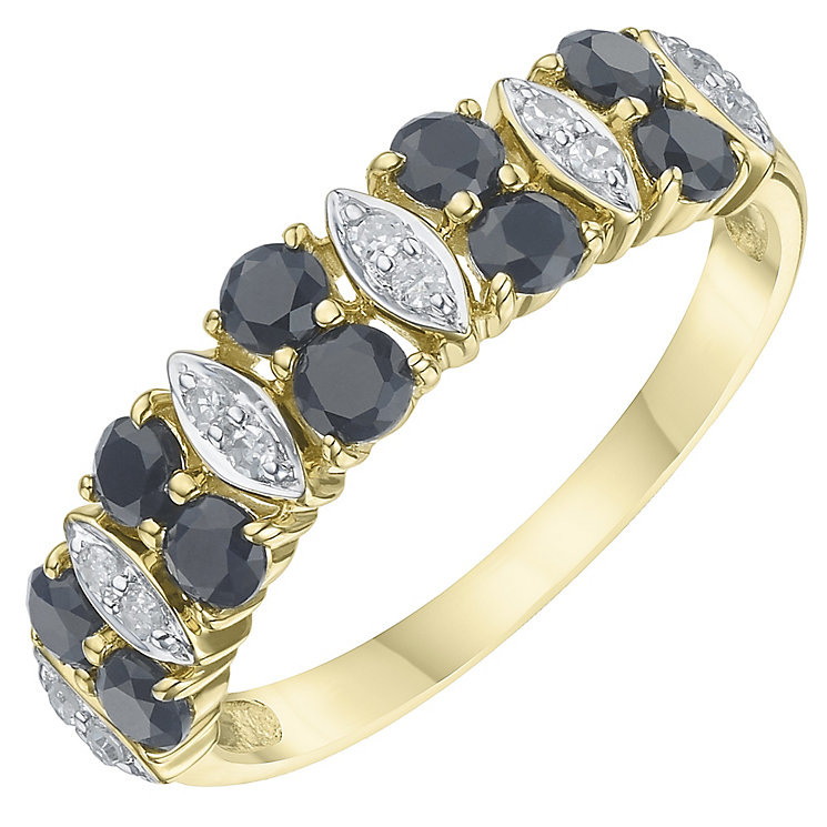 9ct Yellow Gold Sapphire  & Diamond Eternity Ring - Product number 6234119