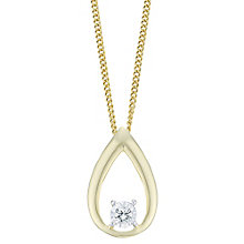 9ct Yellow Gold  & Diamond Pear Drop Pendant - Product number 6234984